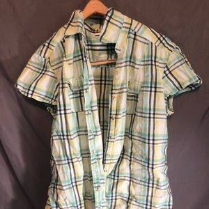 Green stripped plaid short sleeve shirt size 12